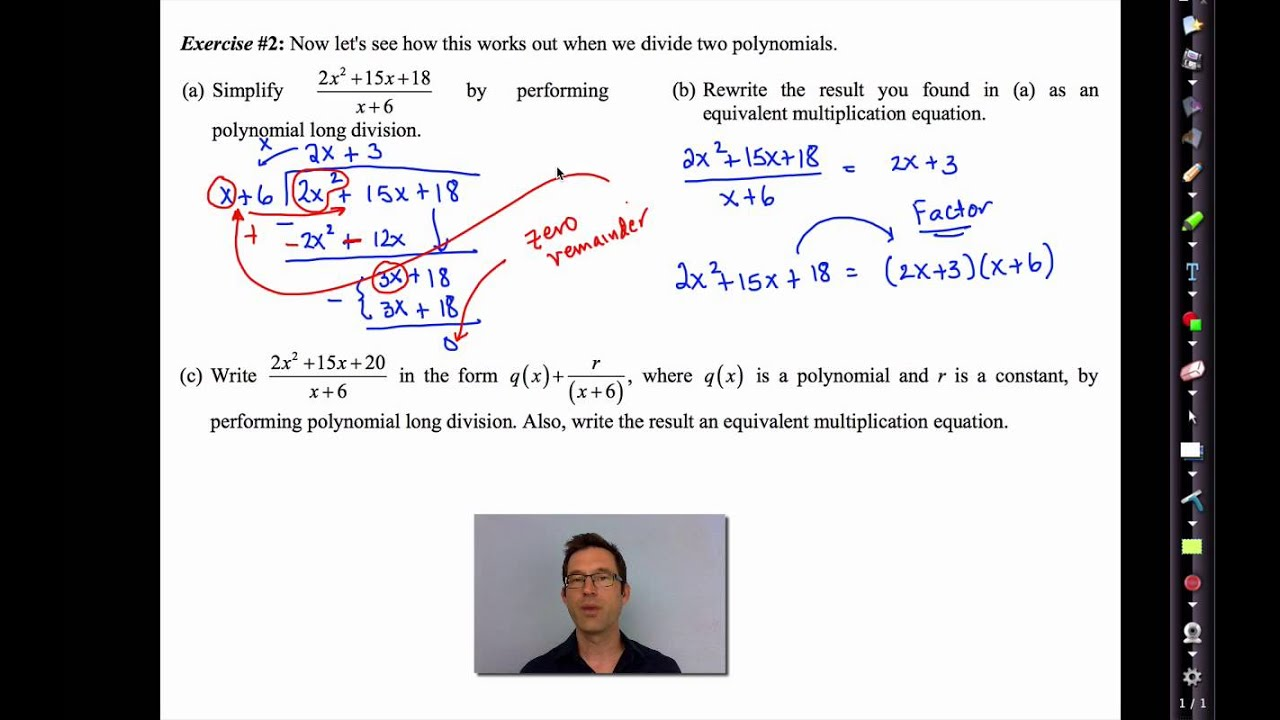 small resolution of Common Core Algebra II.Unit 10.Lesson 10.Polynomial Long Division - YouTube