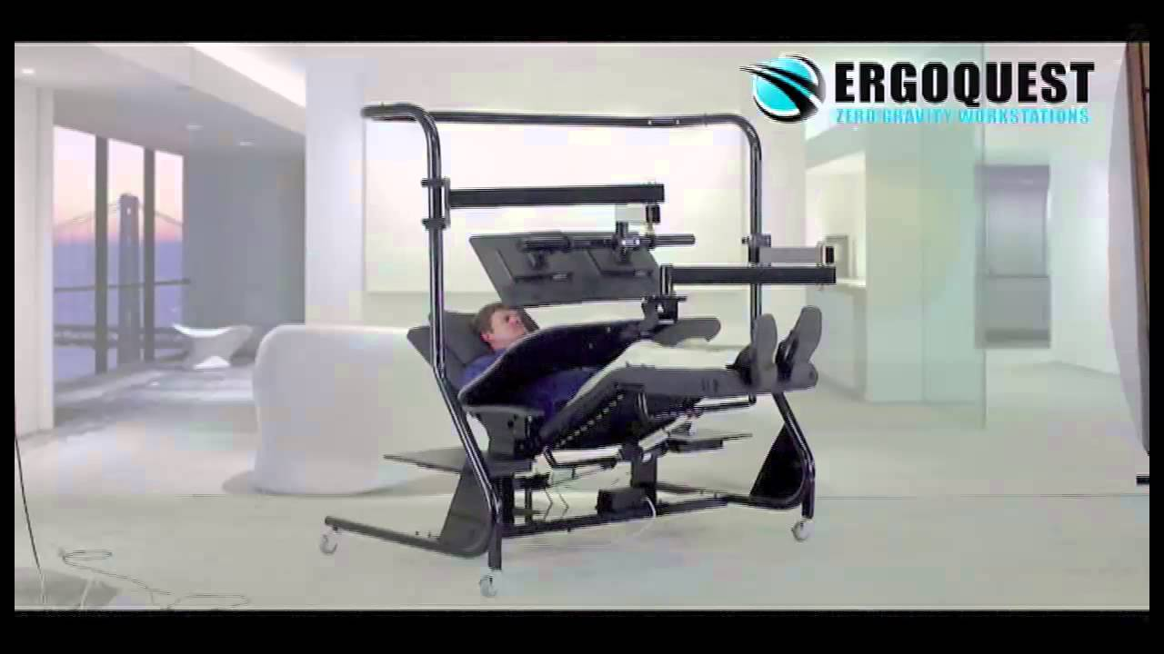 Zero Gravity Desk Chair Upholstered Office With Casters Monitor Arm And Keyboard Tray - Youtube