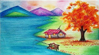 How To Draw scenery of Autumn Season step by step - Autumn Season Drawing