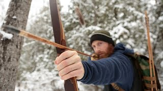 Primitive Longbow Rabbit Hunt ASMR (Silent)|  Stone Arrows , Bushcraft Shelter Build, Fire Cooking