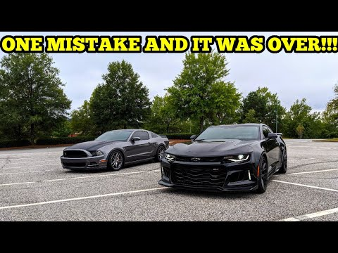2018 MANUAL CAMARO ZL1 VS BOOSTED ROUSH STAGE 2 MUSTANG GT!!! THIS RACE WAS WAY TOO CLOSE!!