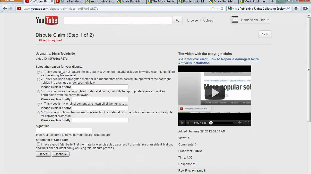 How To Dispute A Copyright Claim In Youtube Music Publishing Rights Collecting Society Youtube