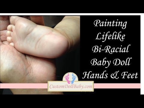 How To Paint Bi-Racial Reborn Doll Hands And Feet By CustomDollBaby.com