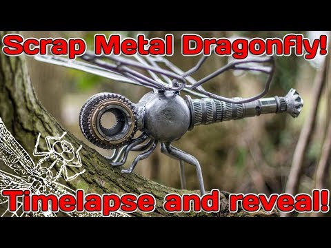 Handmade Scrap Metal Dragonfly Reveal with build Time lapse!