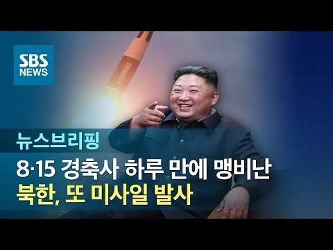 북한, 8·15 경축사 하루 만에 맹비난…또 미사일 발사 / SBS / 주영진의 뉴스브리핑