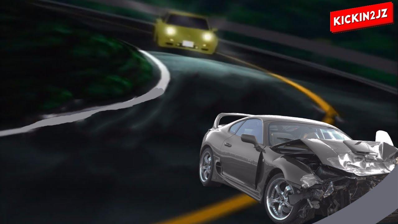 Toyota Supra Red >> Initial D Inertia Drift Toyota Supra Crash Fail - YouTube