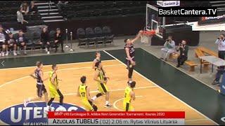 Azuolas TUBELIS (´02) 2.06 m. Rytas Vilnius (Lituania). MVP Junior-U18 Euroleague ANGT Kaunas 2020