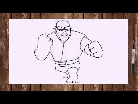 How to draw Giant from Clash of clans characters troops COC drawing step by step