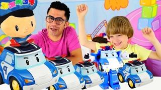 Eğitici video! Robocar Poli arabaları ve Robot. Çocuk oyunları -  Nail Baba ve Arseniy