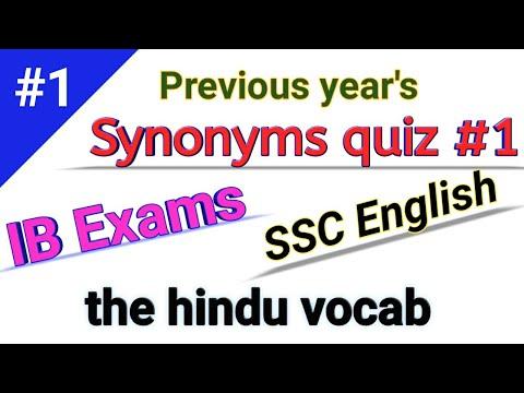 Synonyms Quiz Part-1 Ssc English Chl, Chsl, Mts, IB Exams