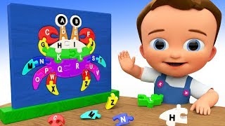 Learn Alphabets for Children with Baby Fun Playing with Wooden Crab Puzzle Toys - ABC Song for Kids