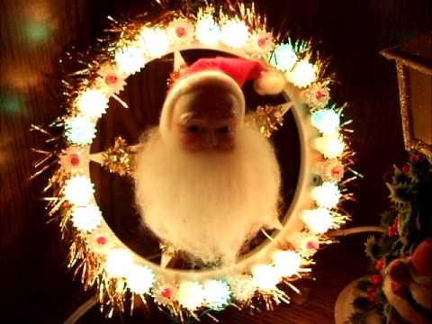 Spinning Light Santa Christmas tree topper plaque- three ...