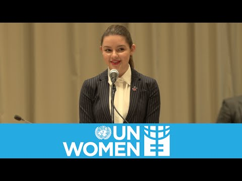 Fátima Ptacek speaks at the UN for International Women's Day