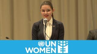 Fátima Ptacek speaks at the UN for International Women's Day