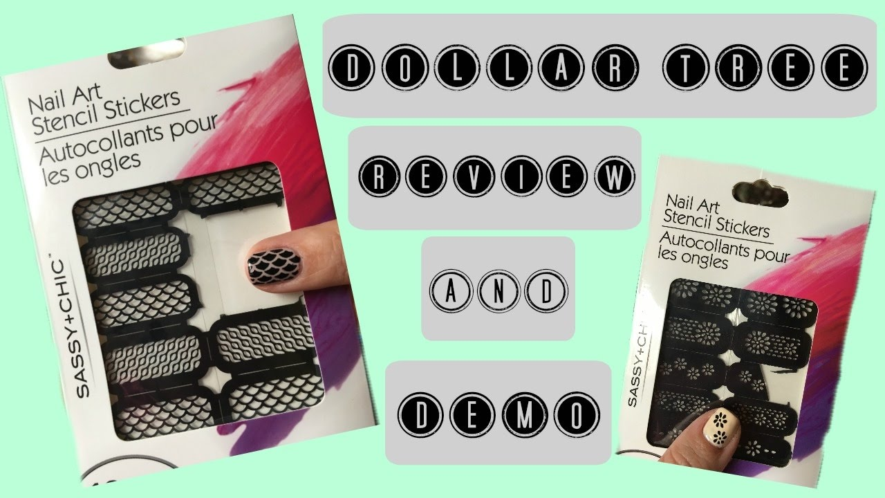 Dollar Tree Nail Art Stencil Stickers Review & Demo - YouTube