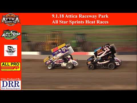 9.1.18 Attica Raceway Park All Star Sprints Heat Races