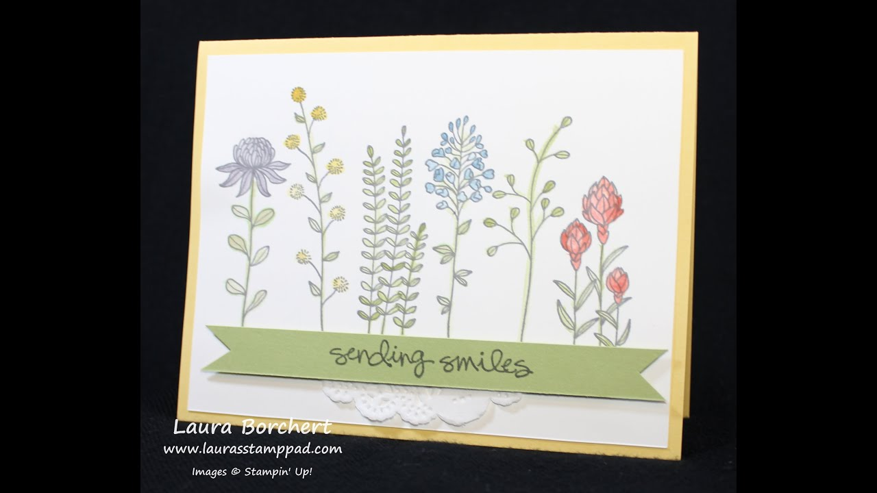 Watercoloring with the Flowering Fields Stampin' Up! Stamp ...