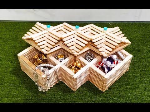 DIY, How To Make Jewelry Box at Home, Ice cream sticks craft, Popsicle stick crafts, craft ideas