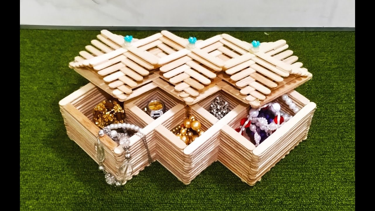 Diy How To Make Jewelry Box At Home Ice Cream Sticks Craft Popsicle Stick Crafts Craft Ideas
