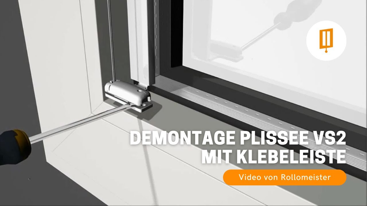 demontage plissee vs2 zum kleben mit klebeleiste ohne bohren video von rollomeister youtube. Black Bedroom Furniture Sets. Home Design Ideas