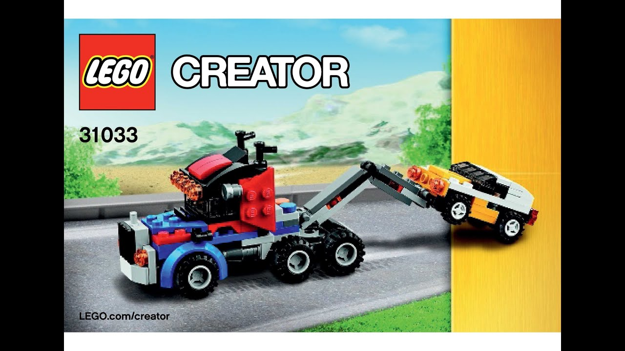 lego 31033 vehicle transporter tow truck instructions lego creator 3 in 1 2015 youtube. Black Bedroom Furniture Sets. Home Design Ideas