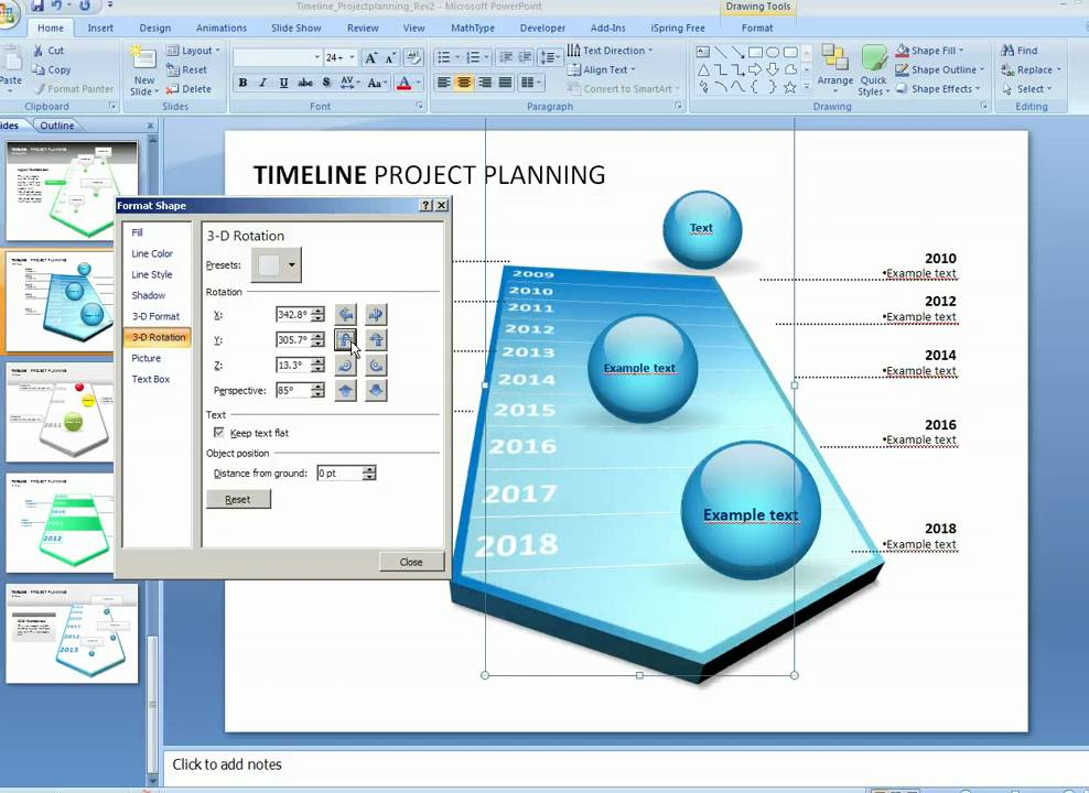 How to customize Timeline Project planning Template in PowerPoint