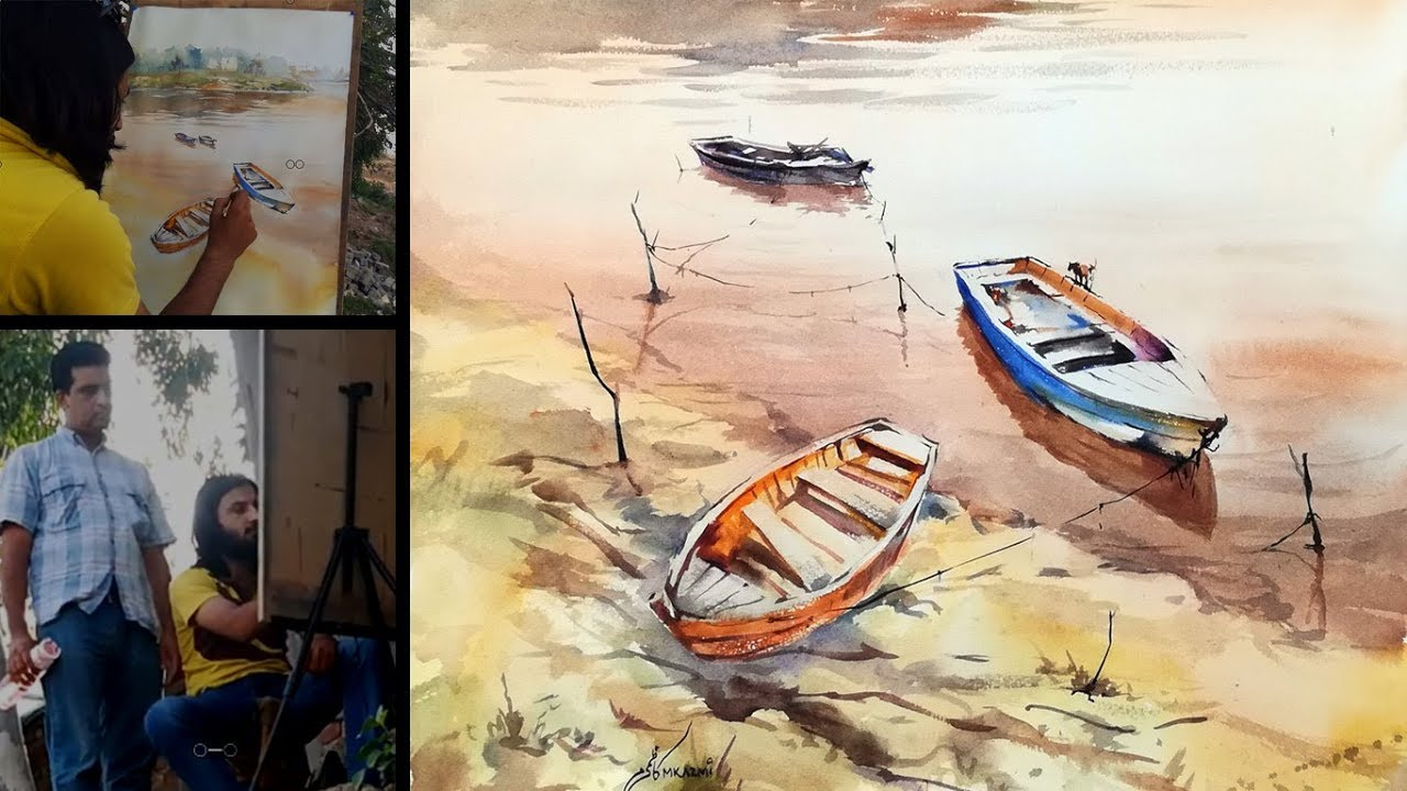 Watercolor tutorial for beginners how to paint river in for How to watercolor for beginners
