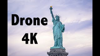 New York Battery Park Statue of Liberty Sunset 4K Drone Video