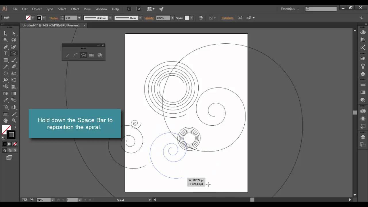 Adobe Illustrator CC Spiral Tool