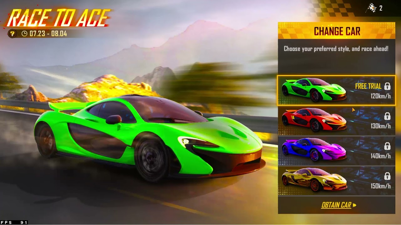 Claim Free Green Mclaren  skin   How to complete race to ace event Free Fire details in hindi