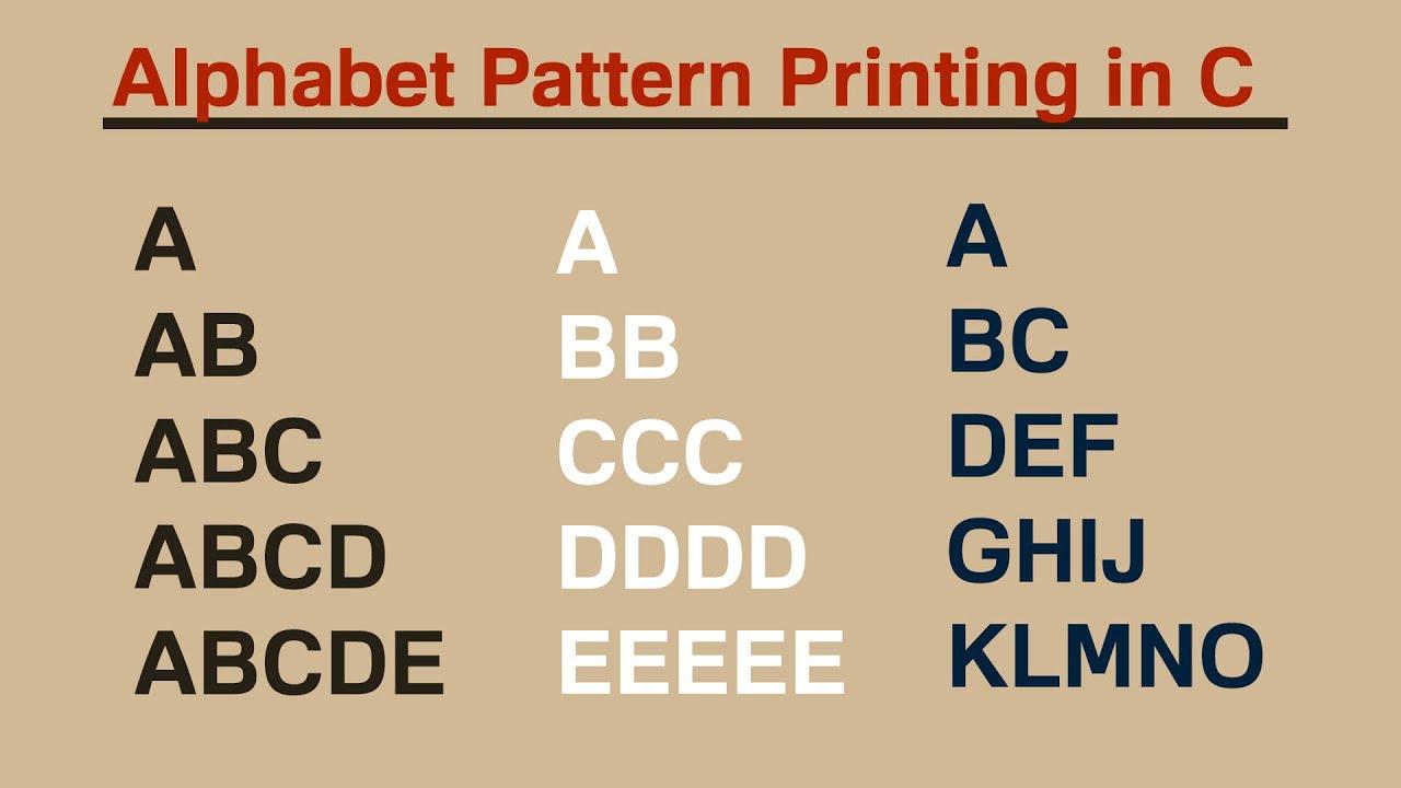 Alphabet Pattern Printing in C (HINDI)