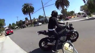 BMW S1000R filmed from chasing scooter