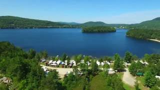 Aerial footage of Spectacle Pond and Island Pond, Vermont