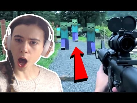 REACTING TO MINECRAFT IN REAL LIFE!!! - Видео из Майнкрафт (Minecraft)