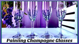 DIY Lavender Champagne Glasses   How to Paint Wine Glasses