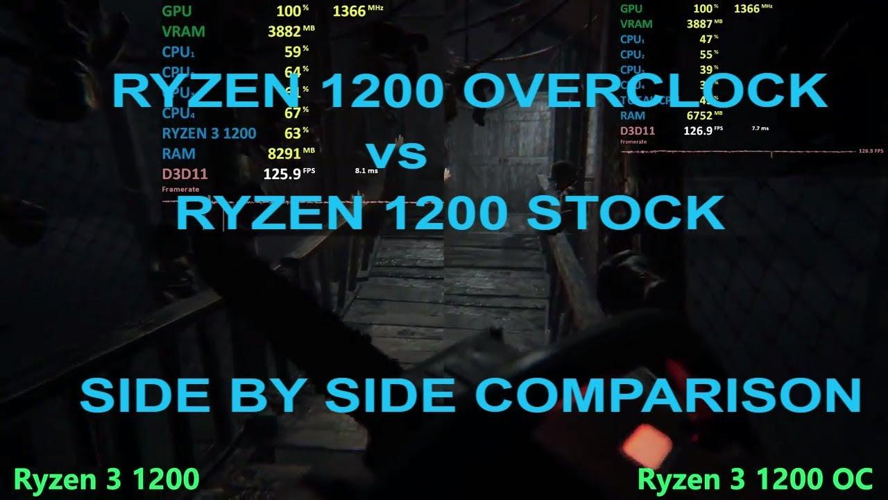 Ryzen 3 1200 Overclock (OC) vs. 1200 Stock speed Performance - Gaming Tests - YouTube