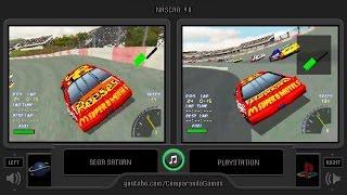 NASCAR 98 (Sega Saturn vs Playstation) Side by Side Comparison | Vc Decide