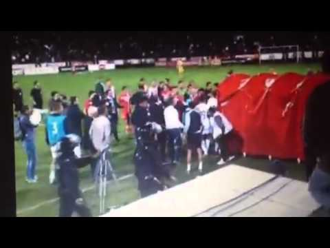England U21 get attacked by Serbia fans