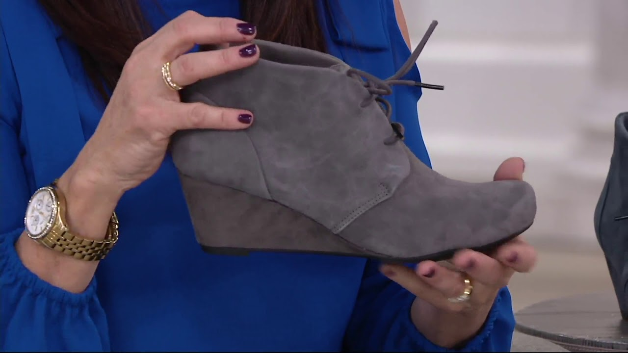 558c2714317d Clarks Suede Lace-up Wedge Ankle Boots - Flores Rose on QVC - YouTube
