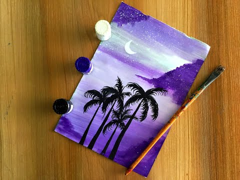Step by Step Acrylic Painting on Canvas for Beginners/ Nature Scenery Painting/ Go purple Painting