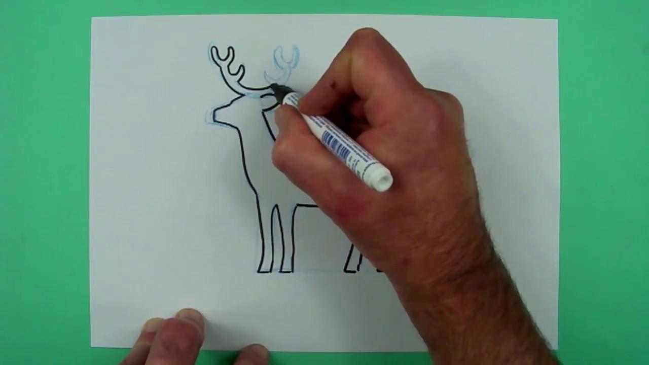 Wie Zeichnet Man Ein Ganz Einfaches Rentier Zeichnen Für Kinder