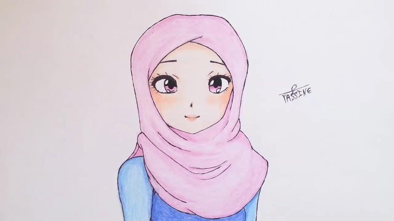 رسم فتاة أنمي محجبة drawing anime girl in hijab