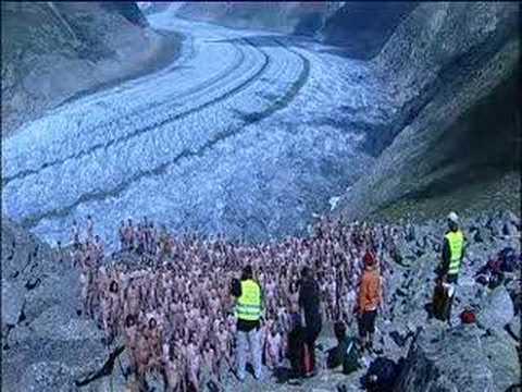 Spencer Tunick getting naked on Aletsch Glacier, Switzerland