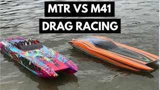 DRIFTOMANIACS - RC Boat Drag Racing - Traxxas M41 Vs ProMarineRC MTR
