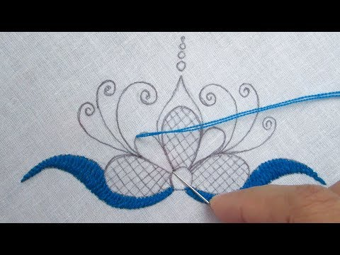 Hand Embroidery, Easy Embroidery Design for Dresses, Flower Embroidery Tutorial