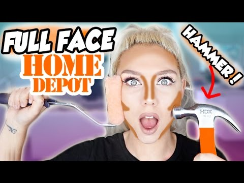 FULL FACE USING ONLY HARDWARE STORE TOOLS! NO BRUSHES MAKEUP CHALLENGE | Nicole Skyes