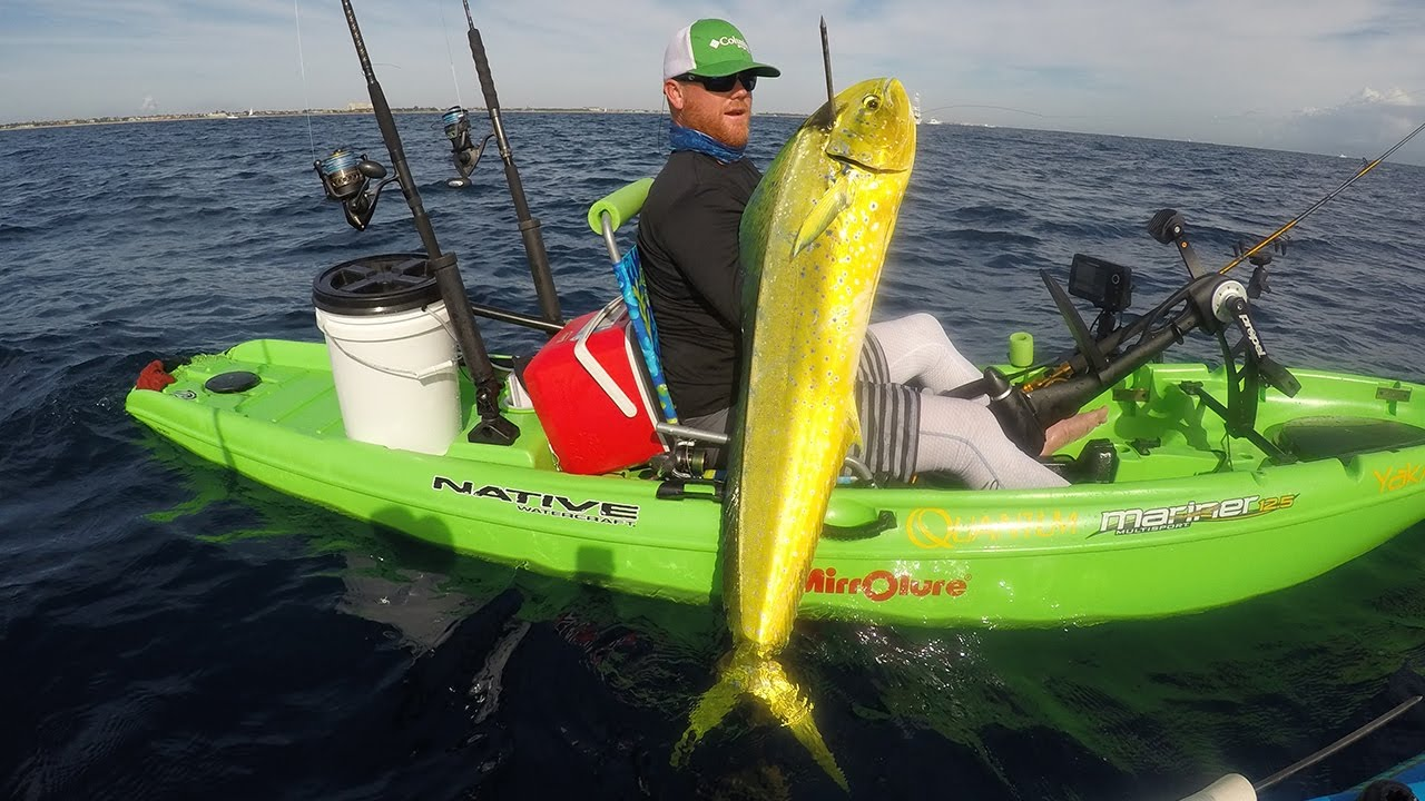 Monster mahi from kayak youtube for Deep blue kayak fishing