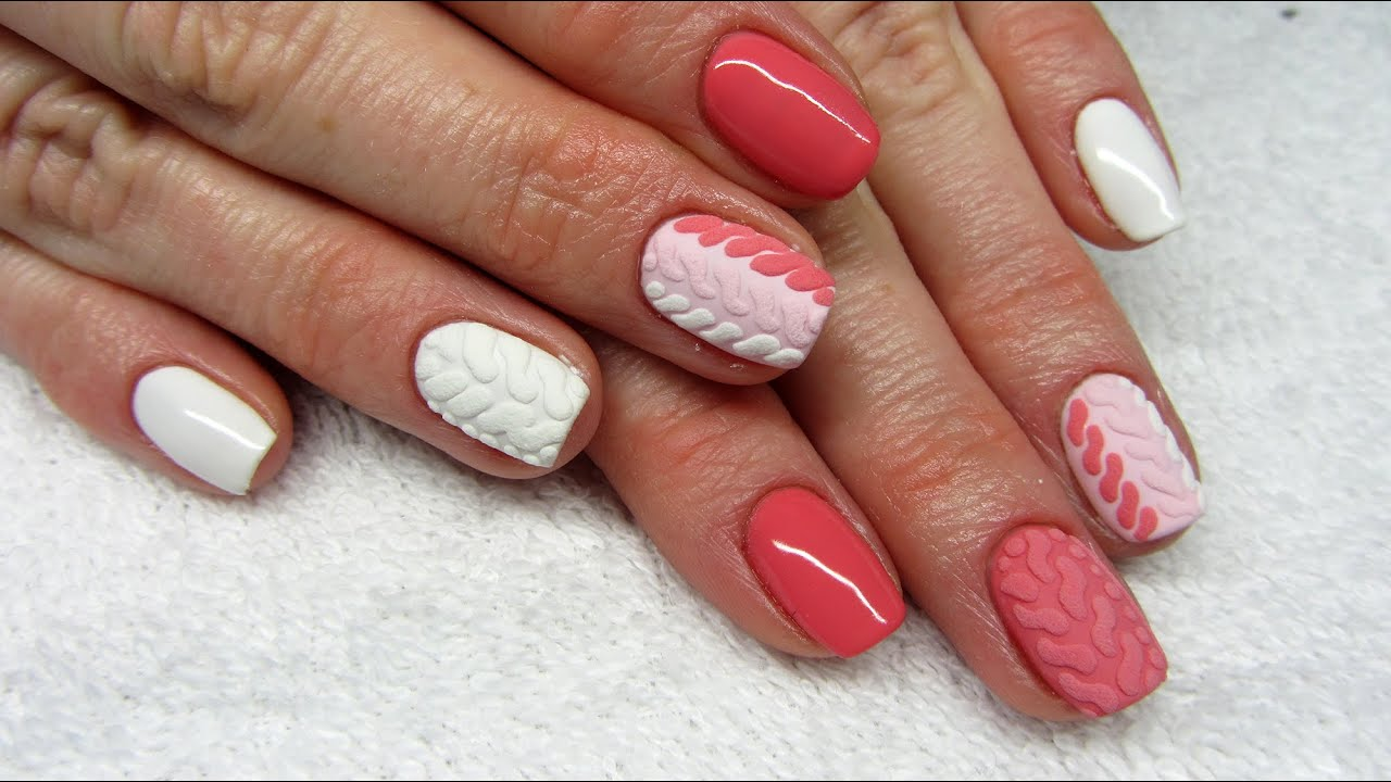 Three Colors Knit Nails Kolorowy Sweterek Na Paznokciach