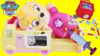 PAW PATROL Pup Skye Visits Disney Jr Toy Hospital Emergency Ambulance Chase Doctor's Visit School Bu