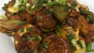 egg chilli recipe || egg manchurian   ||  Indo Chinese style Spicy Chilli Egg ||
